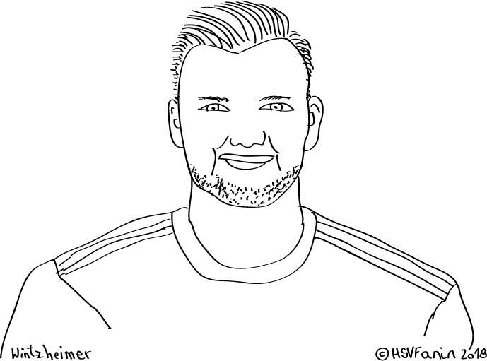 Neuzugang Manuel Wintzheimer Hamburger SV 2018, gezeichnet von HSVFanin 2018